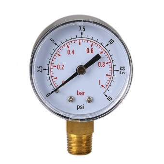 Low Pressure Gauge for Fuel Air Hydraulic 50mm 0/15 PSI 0/1 Bar 1/4BSPT - intl