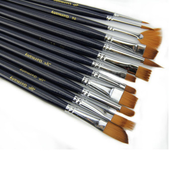 Lucky 12 x Nylon Hair Paint Brush Set Artist Watercolor Acrylic OilPainting Supplies (Black) - intl
