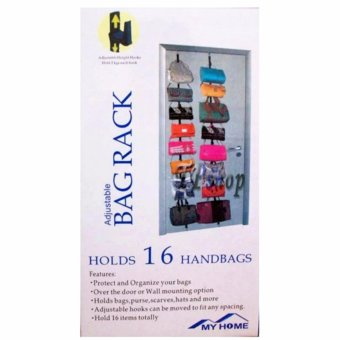 Lucky Adjustable Over Door Straps Hanger Bag Clothes Coat RackOrganizer 16 Hooks
