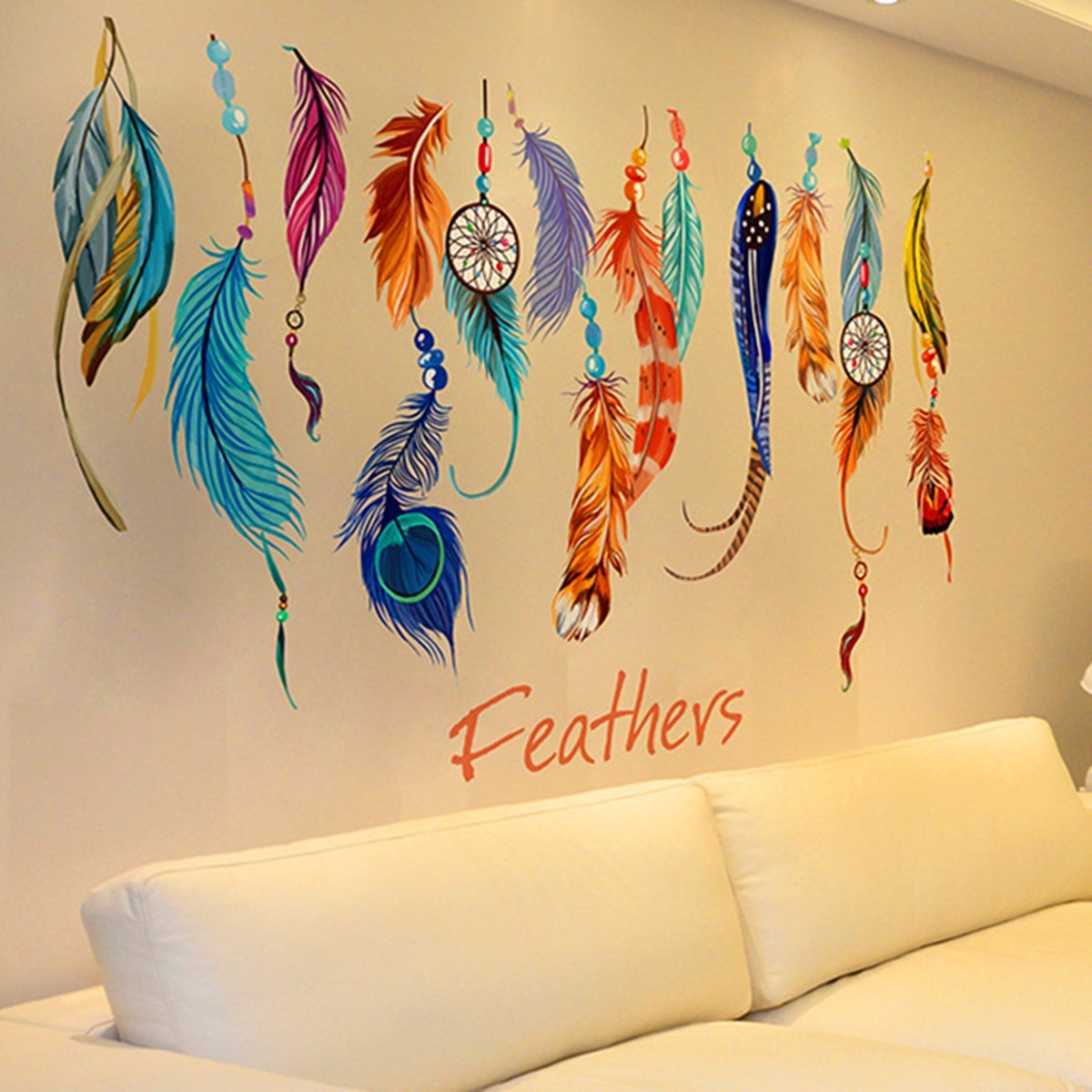 Philippines | Lucky Dream Catcher Feather Removable Wall Art Sticker ...