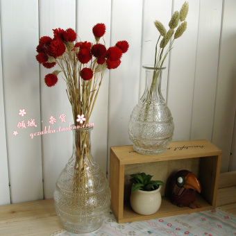 Lucky Star retro embossed glass vase flower holder