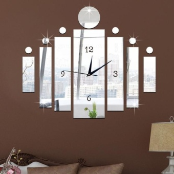 Luxury 3D Mirror Silver Wall Clock Modern Design Home Decor WatchWall Sticker - intl - 3