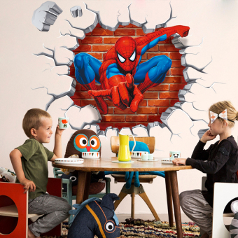 LZ Kid Boy Bedroom Decor 3D Spiderman Wall Stickers RemovableMuralpaper Decals - intl