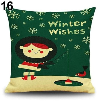 LZ Snowman Elk Tree Wreath Christmas Pillow Case Xmas Homedecor Linen Cushion Cover 16 - intl