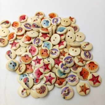 MagiDeal A Box of 100 Pieces Assorted Round Sea Shell Wooden Buttons for Sewing Craft - intl - 2