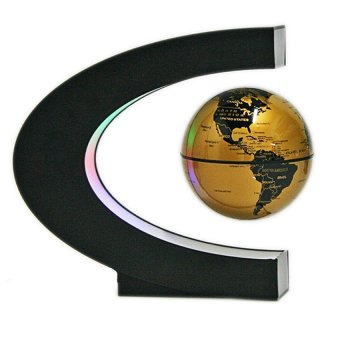 Maglev Floating Rotating Globe Novelty C Shape Color Home Decoration With Magnetic Suspension Levitation Floating Globe World Map LED Light Home Decor Globes Gold