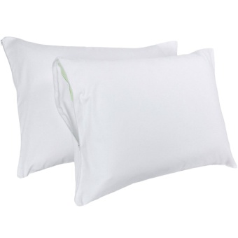 Majestic Bedding 100-Percent Cotton Dust Mite & Allergy Control Zippered Pillow Protector Standard 20 x 26 inches, Set of 2 (White)