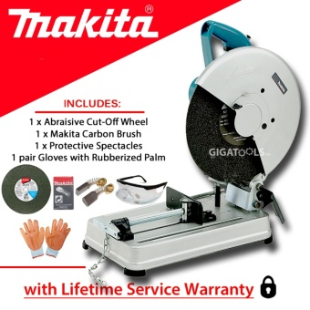 "Makita 2414NB Cut-off Machine 14"" 2000W with Carbon Brush, Gloves,and Protective Spectacles"