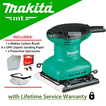 Makita M9200M Finishing / Palm Sander (180W) with 6pcs OPK (Japan)Sanding Papers with Carbon Brush and Protective Spectacles