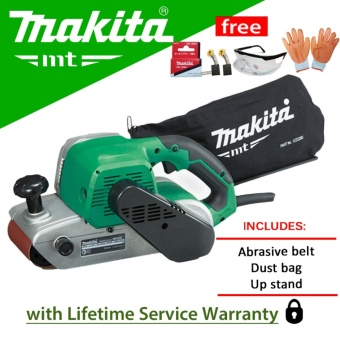 Makita MT M9400M Belt Sander (940W) with Carbon Brush, Gloves, andProtective Spectacles