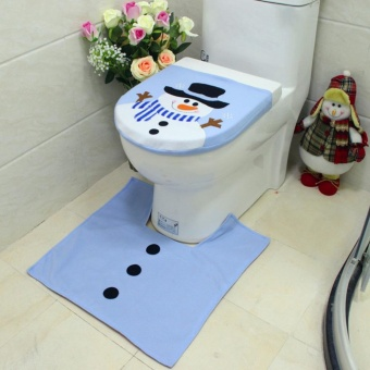 Makiyo 2Pcs Toilet Seat Cover with Rug Christmas Decorations Bathroom Set Happy Snowman Floor Mat - intl