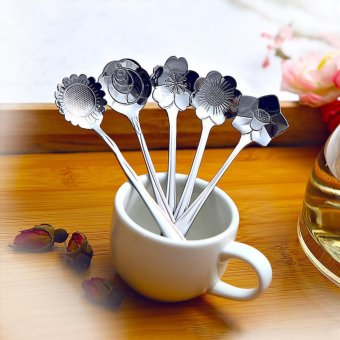 Makiyo 5pcs stainless steel cherry rose sunflower coreopsis platycodon grandiflorum shaped measuring spoons tea coffee spoon - intl