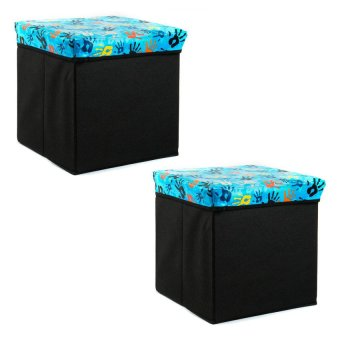 Manhattan Homemaker Collapsible Stool with Storage Playful SerenitySet of 2 (Blue)