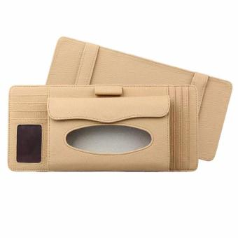 MC Sun Visor Pen CD Card Case Holder Bag Tissue Box Holder (Beige)