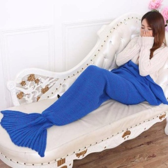 Mermaid Tail Blanket Crochet Mermaid Blanket For Babyinfant KidsSofa Quilt Living Room Bedroom Camping Warm Soft Allseasons SeatailSleeping Bag Blanket Sleeping Throws 90 * 50Cm(Dark Blue) - intl
