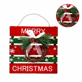 Merry & Bright Christmas Door Hanger Decoration