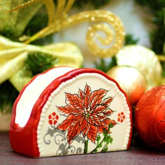 Merry & Bright Collectible Christmas Poinsettia Tissue Holder