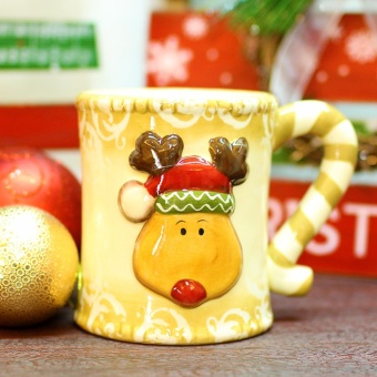 Merry & Bright Collectible Christmas Reindeer Stripes HolderMug
