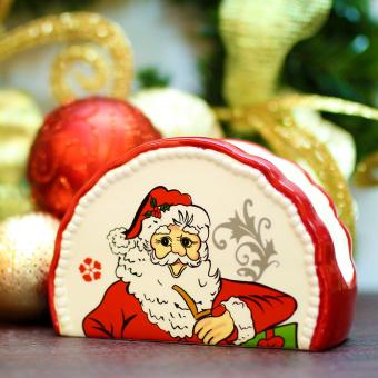Merry & Bright Collectible Christmas Santa Tissue Holder