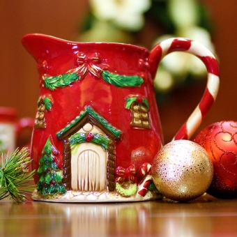Merry & Bright Collectible House Christmas Pitcher (Red)