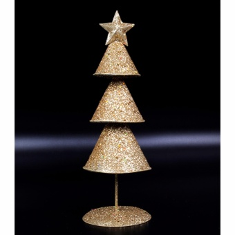 Merry & Bright Cone Christmas Table Stand Decor (Gold)