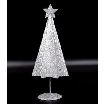 Merry & Bright Star Christmas Table Stand Decor (Silver)