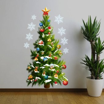 Merry Christmas And Happy New Year Santa Tree With Bells DIYWallpaper 82cm*45cm