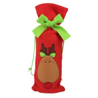 Merry Christmas Santa Deer Tree Wine Bottle Bag Cover Xmas Dinner Party Table Decor?Deer - picture 2