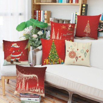 Merry Christmas Series Cotton Linen Throw Pillow Case Decorative Cushion Cover (Set of 6) 45 x 45 cm - intl