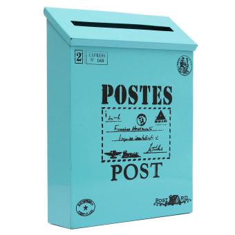 Metal Tin Locking Waterproof Post Card Mailbox Vintage Wall Hanging Mail Box New Blue - 2