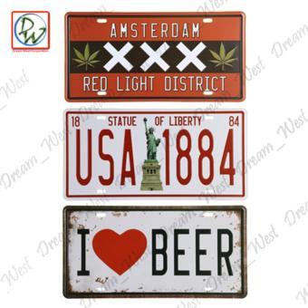 Metal Tin Sign Plaque Wall Art (Amsterdam XXX, Statue of Liberty, ILove Beer)