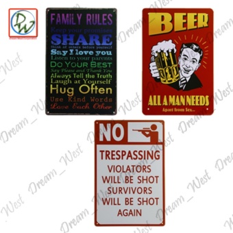Metal Tin Sign Plaque Wall Art (Family Rules, Beer All A Man Needs,No Trespassing)