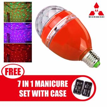Microbishi 3W E27 RGB LED DJ Light Bulb Rotating Lamp Disco LightMD-268 (Red) with free Microbishi 7-in-1 Manicure Set with Casebest quality (DarkBrown)