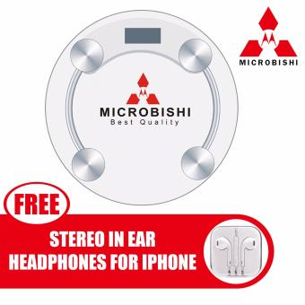 Microbishi Digital LCD Electronic Tempered Glass Bathroom WeighingScale (White) with free Stereo In-Ear Headphone (White)