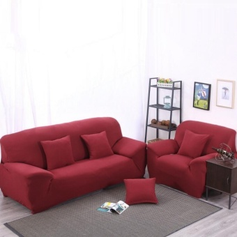 Mile High Elasticity Anti-mite Red Chair Covers Sofa Cover Slipcover Couch 2 Seater - intl