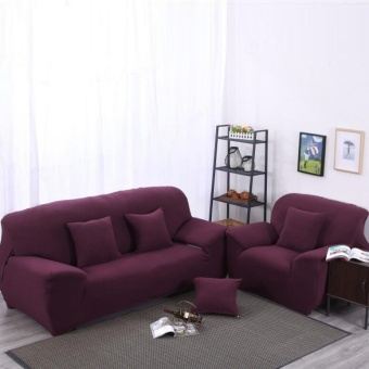 Mile High Elasticity Anti-mite Wine Red Chair Covers Sofa Cover Slipcover Couch 2 Seater - intl