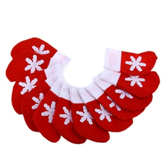 Mini Christmas Tree Stocking Decoration Dinnerware Holder (Red With White) - intl