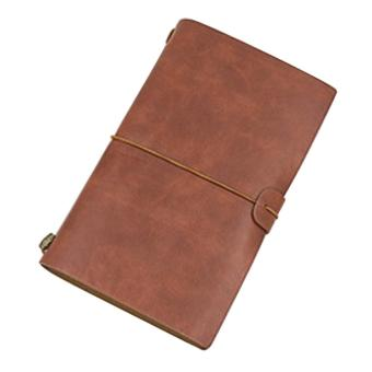Mini Portable Classic Vintage Style PU Cover Notepad 40 SheetsBlank Papers Retro Diary Paper Notebook for Travel Trips VacationsDaily Journaling Brown - intl