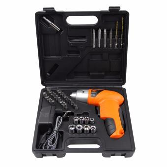 Mini Portable Electric Drill Cordless Screwdriver 45pcs Tools (Orange) - 3