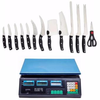 Miracle Blade World Class 13-piece Knife Set with Digital Price Computing Scale (Black)