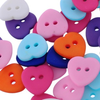 Mixed 2 Holes Resin Heart Buttons Fit Sewing and Scrapbook 12x12mm