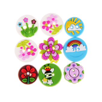 Mixed 2 Holes Round Pattern Sewing Handmade Flower Buttons 15mm 65pcs/Set