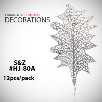 MMC 12pcs Leaves Xmas Ornaments Christmas Home Decorations (Silver)- HJ-80A