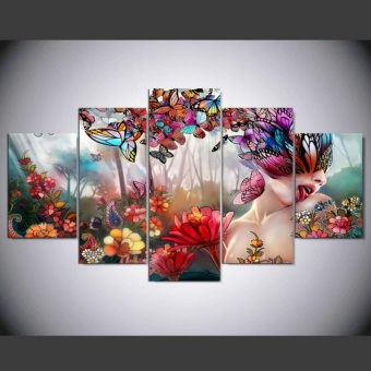 Modern Abstract Art Beauty Flowers Butterfly Painting On CanvasFashion Home Wall Art Decorative Pictures Print Poster 5 panel NoFrame - intl Price Philippines