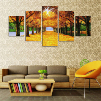 Modern Landscape Canvas Oil Painting Print Money Tree 5pcs Wall ArtDecor for Living Room Home Decoration Unframed