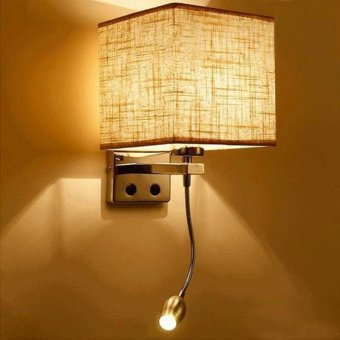 Modern LED Cloth Wall Lamp Hallway Bedroom Bedside Lights color:Flaxen size:1 spotlight - intl