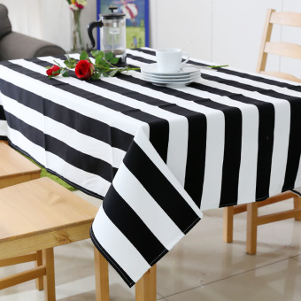 Modern minimalist black and white striped waterproof tablecloth Fabric