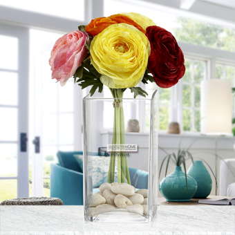 Modern minimalist dining table model hydroponic vase square glass vase