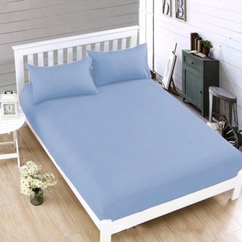 MODERN SPACE High Quality Bedsheet Double Size With FREE Two PillowCases (Blue)