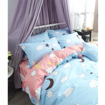 MODERN SPACE High Quality Bedsheet Double Size With FREE Two PillowCases Moon Printed Design Price Philippines